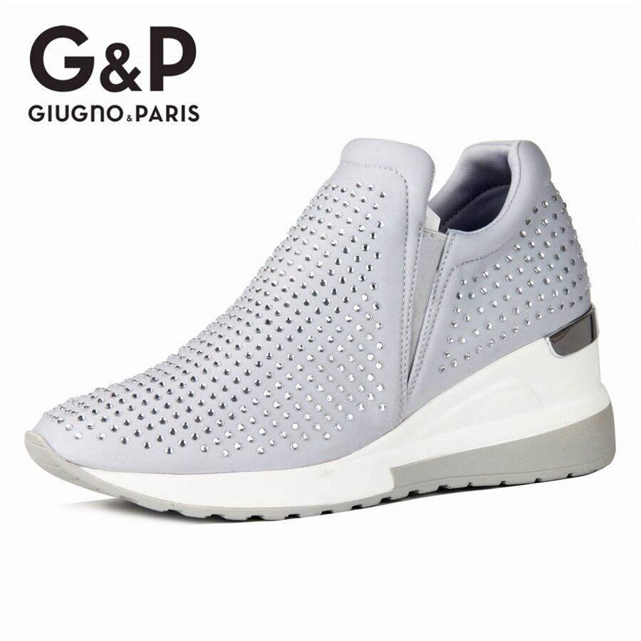 2020 bling tênis strass sapatos de cristal cunha senhoras luxo casual mulher sapatilha plataforma altura 6 cm