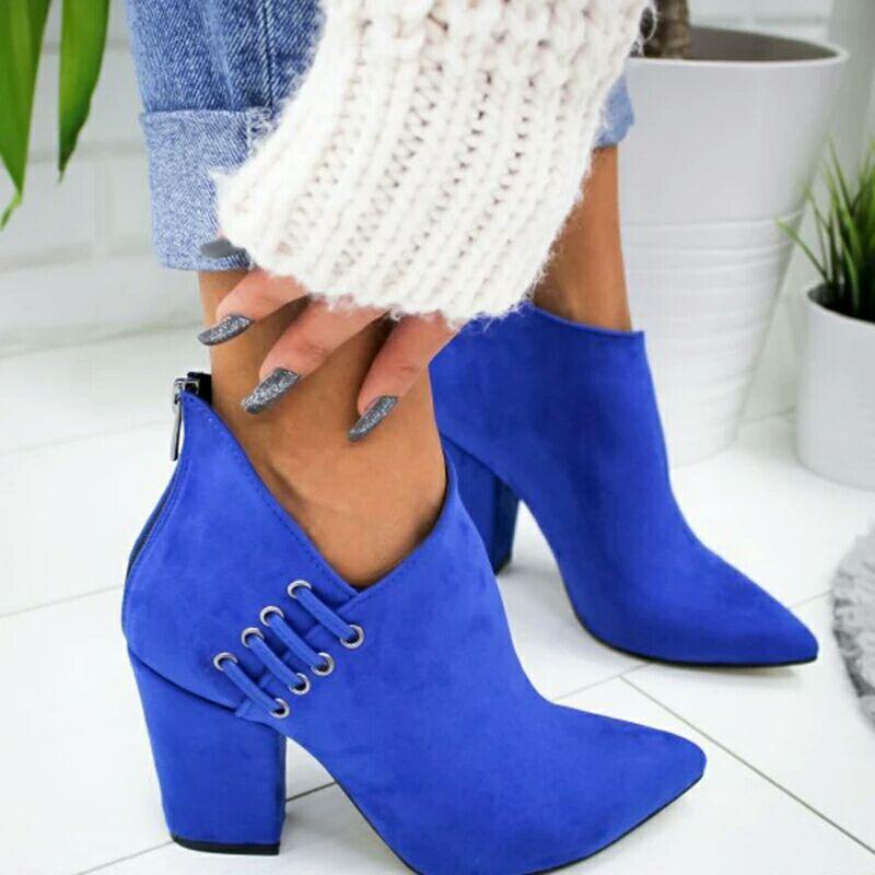 Sapatos femininos tornozelo sexy botas curtas botas de salto alto moda primavera outono apontou sapatos mulher mais tamanho 35-43 botas de rebanho