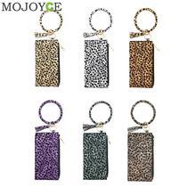 Fashion Leopard Women Handbag PU Leather Money Purse Tassel Keyhain Bracelet Wrist Clutch Bag Retro Zipper Wallet