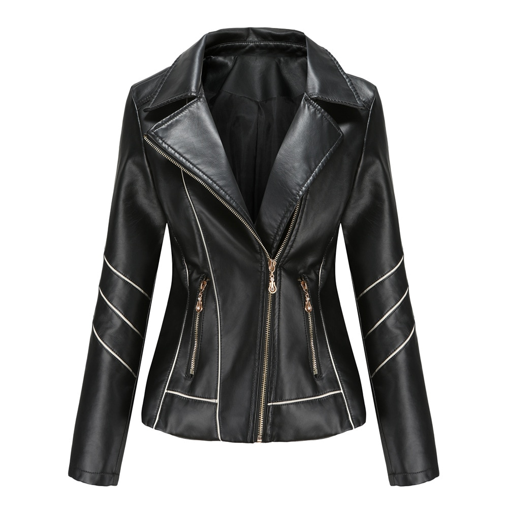 Women 2021 New Autumn Leather Jacket Casual Lapel Slim Leather Jackets Woman Fashion Motorcycle PU Zipper Short Coat Outerwear classical men leather jacket lapel full motorcycle slim cool pu jackets black white coat autumn winter clothing moto