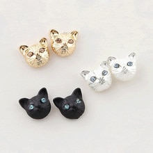 New Girls Vintage Designer Stud Earrings For Women Gold Black Realistic Lovely Cat Head Ear Stud Ear