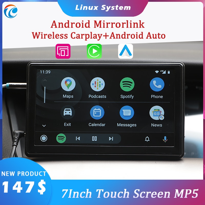 AliExpress - 7″ Touch Screen Car Portable Wireless Apple CarPlay Android Auto Link Multimedia Bluetooth Navigation HD1080 Stereo Linux System