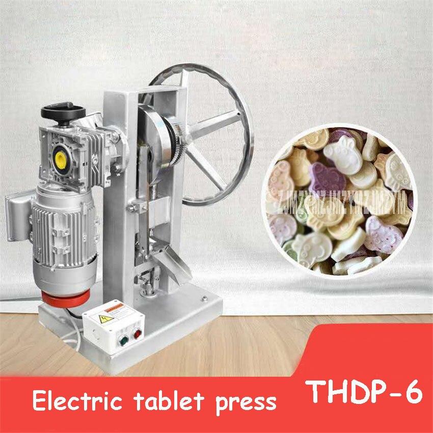 Máquina de prensa eléctrica para tabletas de THDP-6, máquina de prensa comercial para tabletas de un solo golpe, máquina de mesa de polvo de 110V/220V 1.5KW 6T