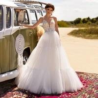 sodigne boho wedding dress spaghetti straps beach bridal gowns lace appliques backles boho tiered ruffles wedding dress