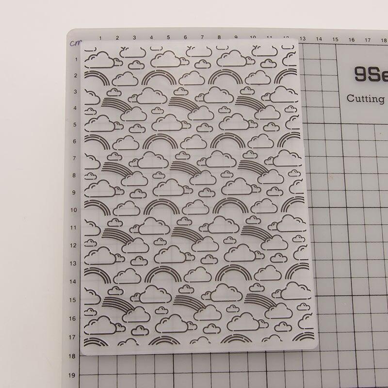 12,6x17,8 cm, carpetas con estampado en Arco Iris nube de plástico para álbum de recortes, plantilla DIY, álbum de fotos de Navidad, fabricación de tarjetas