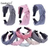 1pc cloth plaid bow knot headband cross knot hairband elastic bezel women hair hoops girls hair accessories