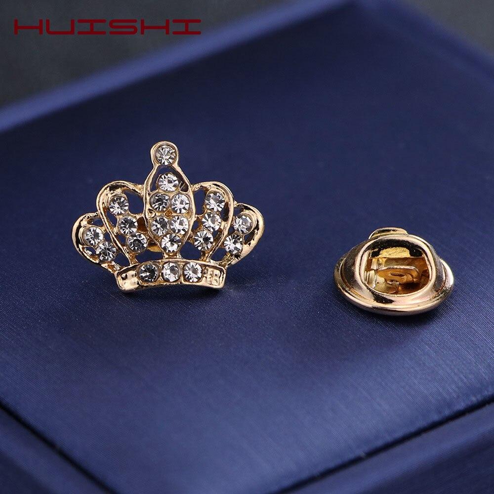 HUISHI, Pin de solapa para hombres, camisa Vintage triangular, Pin de cuello de corona para hombres y mujeres, broche de pluma de corona ahuecado, emblema de esquina