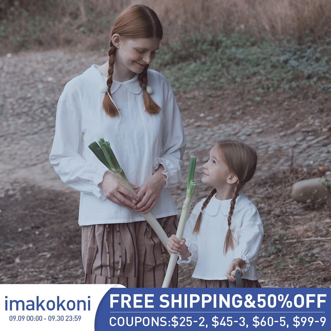 Imakokoi الأبيض دمية طوق قاع قميص التصميم الأصلي بسيط كان رقيقة فانوس كم أنثى 2020 الربيع 192861