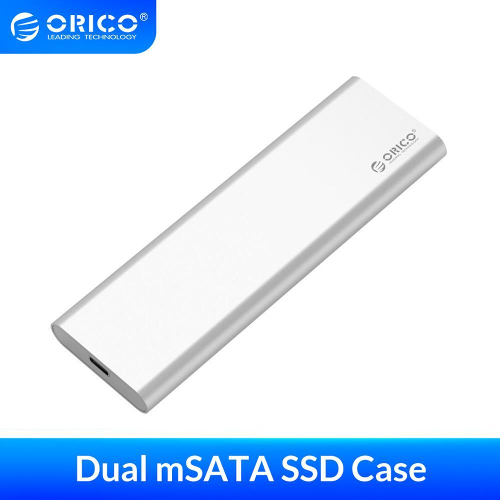 ORICO Aluminum USB3.1 GEN2 HDD Case 10Gbps Dual Bay mSATA SSD Enclosure Support RAID 0 Max 4TB for Mac