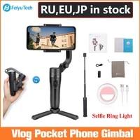 feiyutech vlog pocket foldable phone gimbal 3 axis handle gimbal stabilizer for iphone huawei samsung