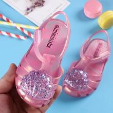 2020 Summer Girls Sandals Kids Shoes Sequin PVC Jelly Mini Melissa Sandalia Infantil Children Casual Shoes Baby Princess Sandal