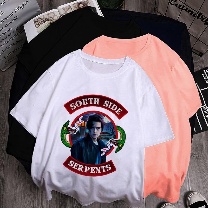 Camiseta Vintage para mujer, camiseta Riverdale Southside Harajuku Ulzzang 90s, serpientes del lado sur, camiseta de mujer, camiseta blanca informal de poliéster