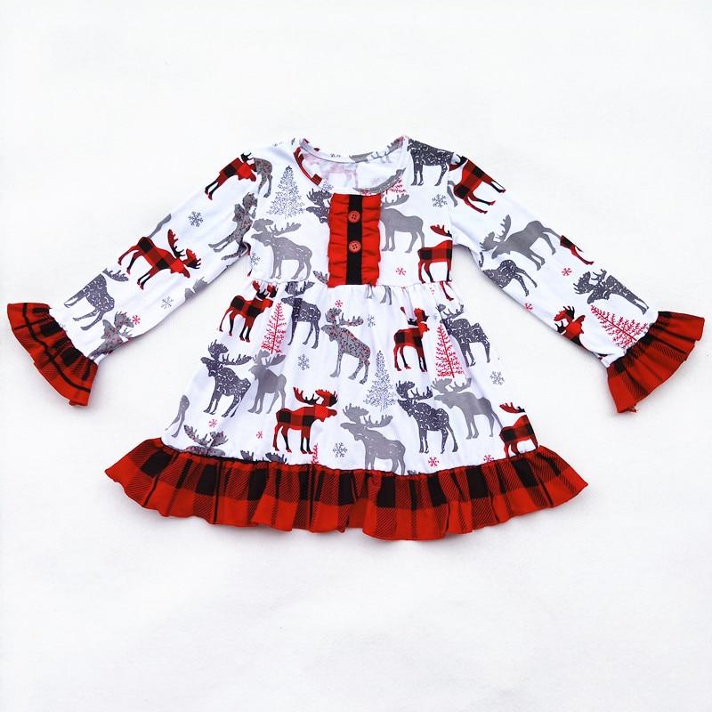 Boutique niño niñas vestido de Navidad ciervos volantes búfalo vestido a cuadros flare manga larga vestidos infantiles para niñas vestidos de Navidad