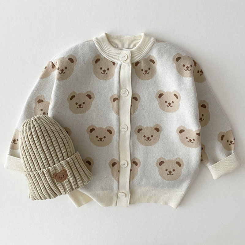 Autumn Winter Baby Fashion Cute Cartoon Knitted Cardigan Children's Clothing Bear Print Sweater Jacket Baby Clothes Knitwear