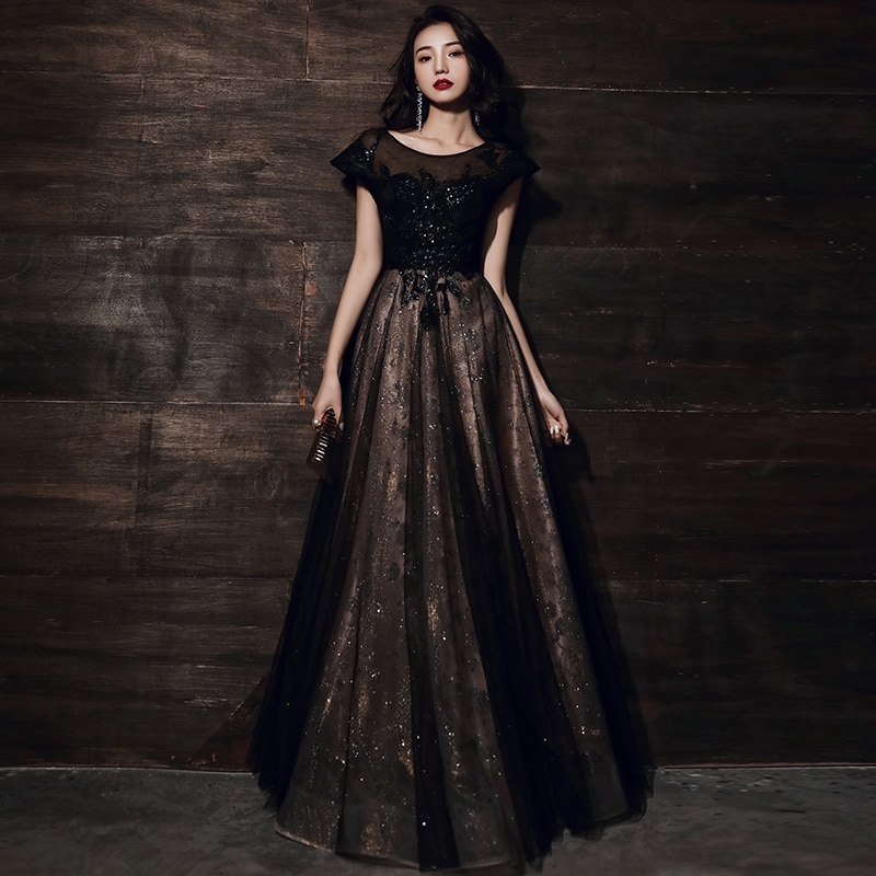 فستان سهرة أسود مزين بالترتر ، طول الأرض ، مخصص ، وهم ، رقبة مستديرة ، أربطة ، R1572