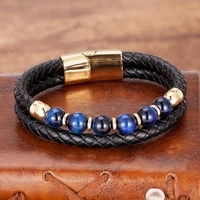natural blue tiger eye beads bracelets for men stainless steel magnetic clasp vintage multilayer leather bracelet wrap wristband