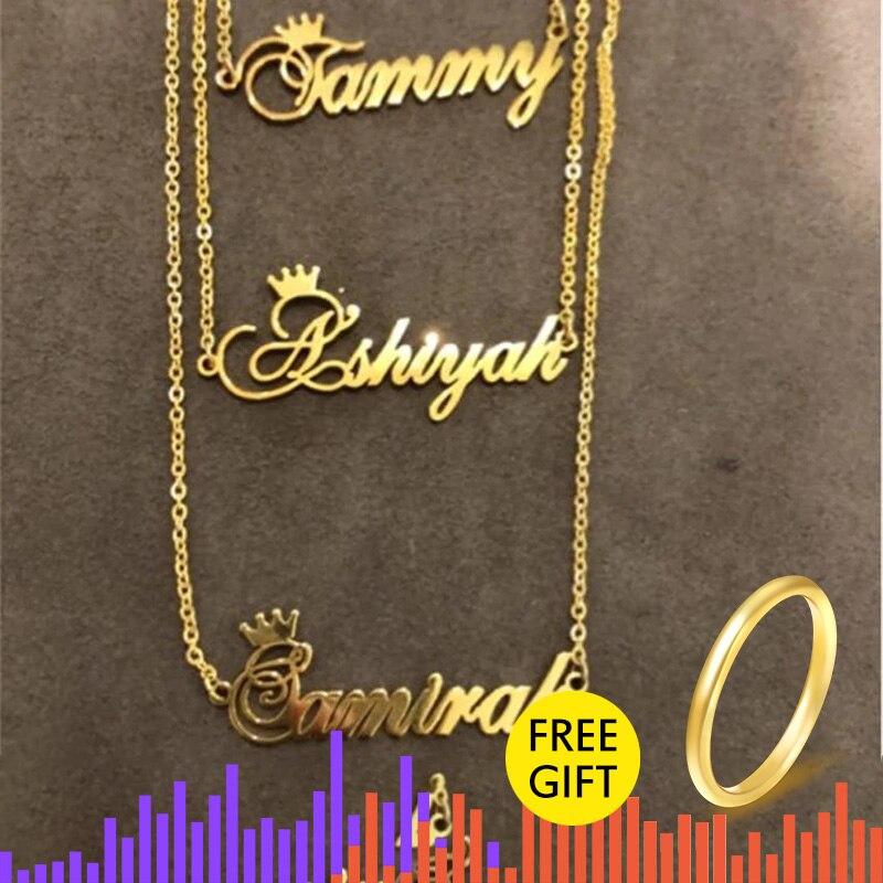 Пользовательские Корона имя ожерелье для девочек детей серебро розовое золото нержавеющая сталь цепь персонализированные ювелирные изделия табличка Чокер ожерелья