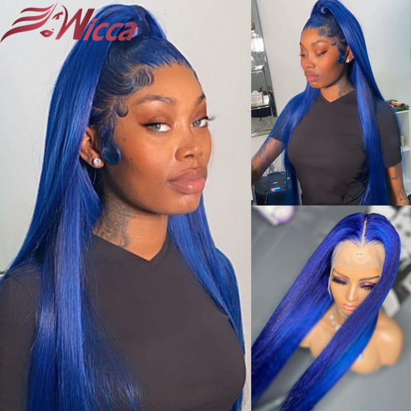 Colored Blue Straight Human Hair Wigs 180% Light Blue Brazilian Lace Frontal Wigs Remy PrePlucked For Women