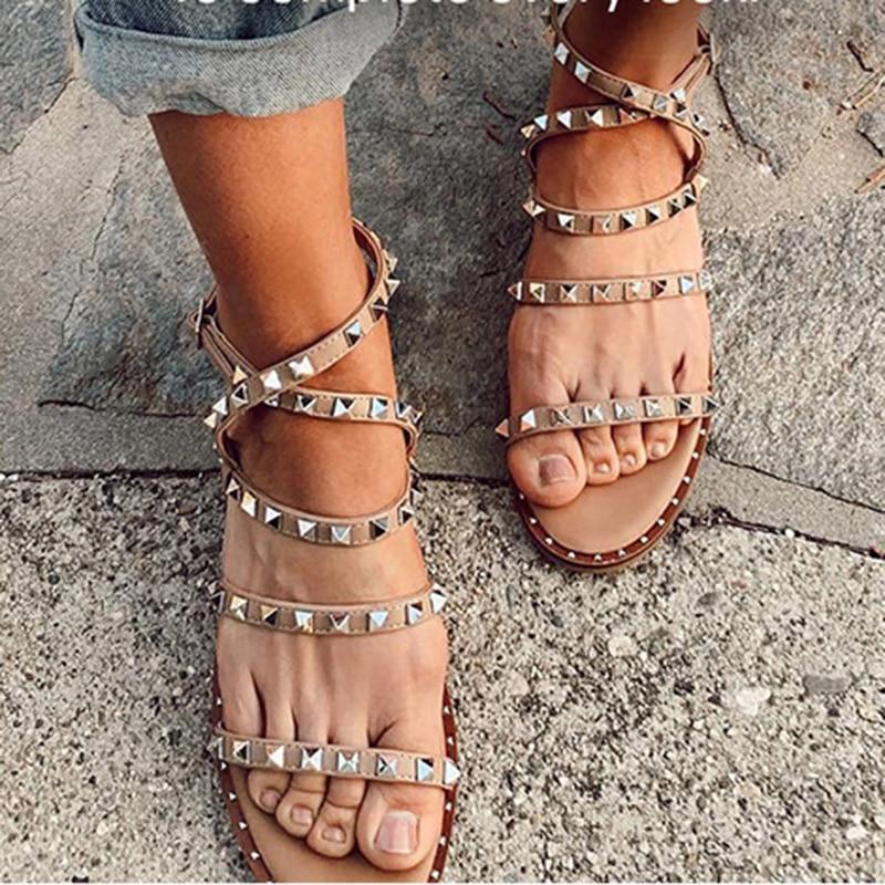 AliExpress - The New Summer 2021 Rivet Shoes Lightweight Non-Slip Women's Fashion Transparent Designer Studded Sandals Flat