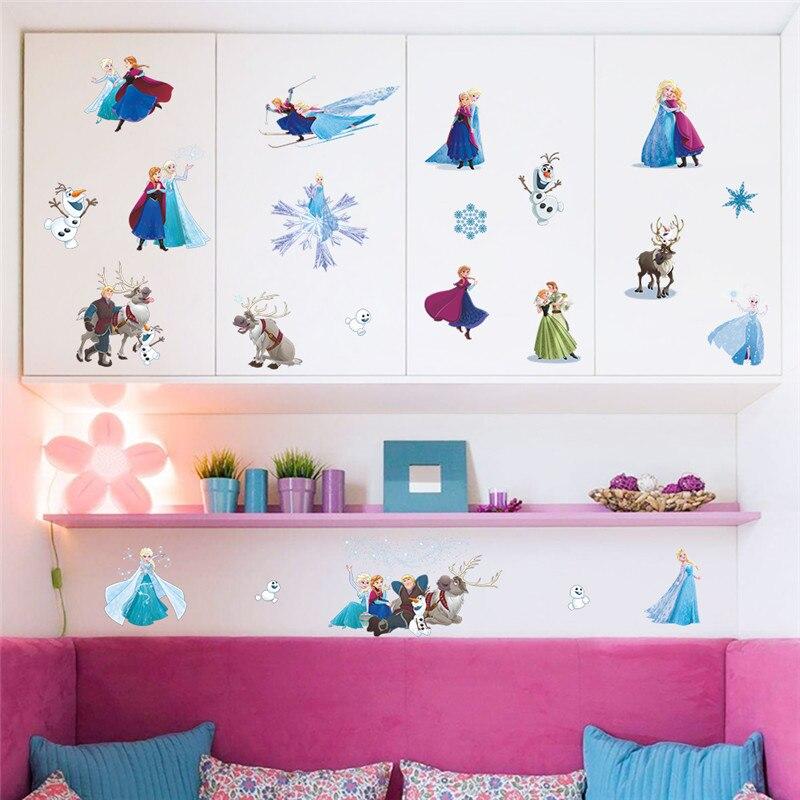 Cartoon Frozen Princess Kids DIY sticker Scroll Puzzle Childrens room decoration stickers pegatinas autocollant enfant