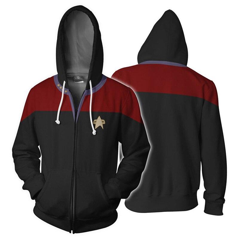 Star discovery cosplay zíper hoodies universo trek casaco jaqueta unisex moletom cosplay uniforme traje