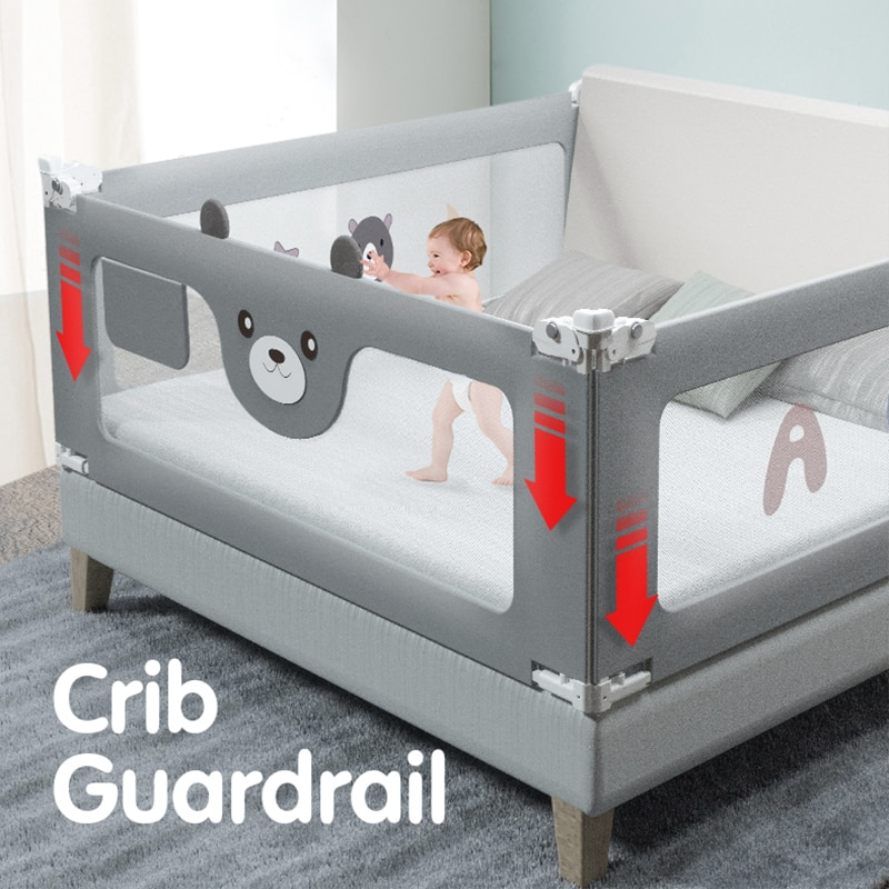Baby Crib Guardrail High Quality Crib Fence Adjustable Safety Bed Rail Vertical Drop Child Bed Railing enlarge