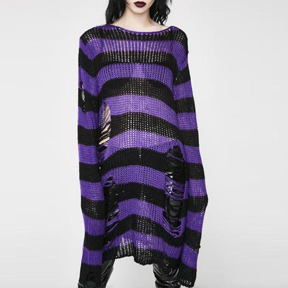 Punk Gothic Long Unisex Sweater 2021 Summer Women Striped Cool Hollow Out Hole Broken Jumper Loose Rock Thin Dark Streetwear Top