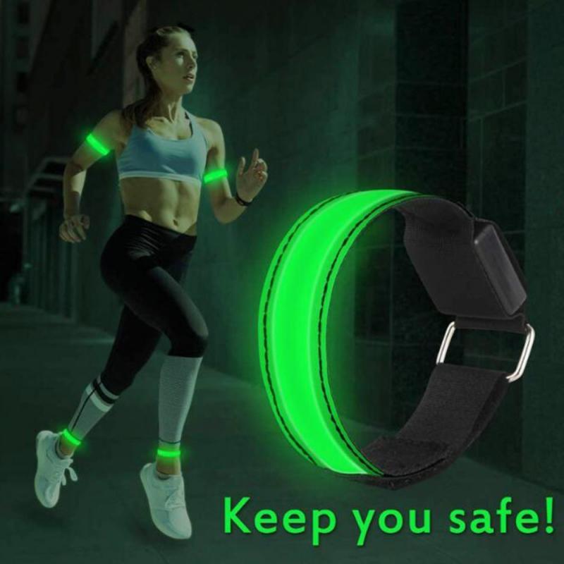 Suporte de pulso led luz reflexiva braço braçadeira cinta cintos de segurança para a noite correndo ciclismo pulseira banda pulseiras de pulso executar