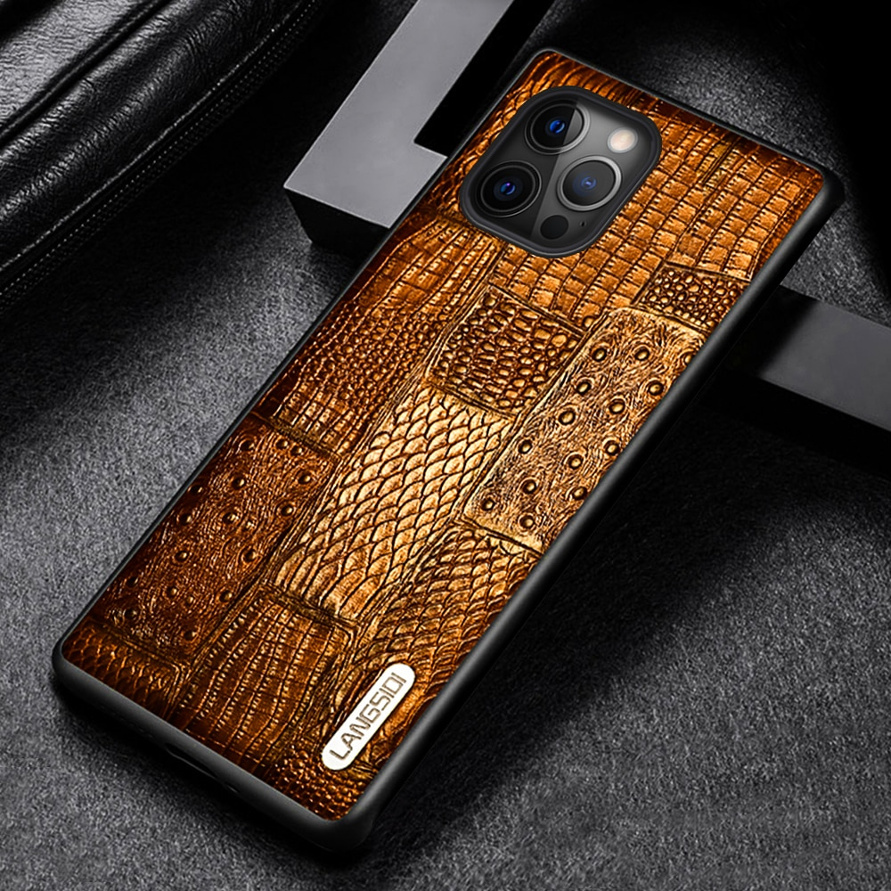 Langsidi Genuine Leather Case For Iphone 12 Pro Shockproof Back Cover For Iphone 12 Pro Max Fundas F