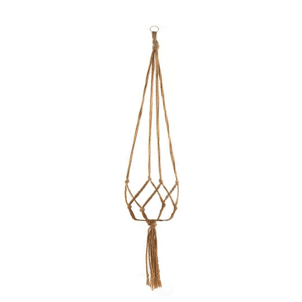 Macrame cesta de planta suspensa, corda de flores cesta de pendurar, decoração de jardim, vaso de flores, rede de pendurar corda de cânhamo