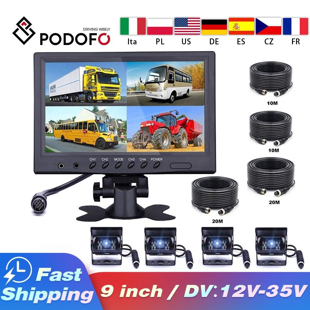 Podofo-شاشة سيارة LCD مقاس 9 بوصات ، 4 قنوات ، شاشة مقسمة رباعية ، للشاحنة ، القافلة ، عربة المنزل المتنقل ، كاميرا وقوف السيارات