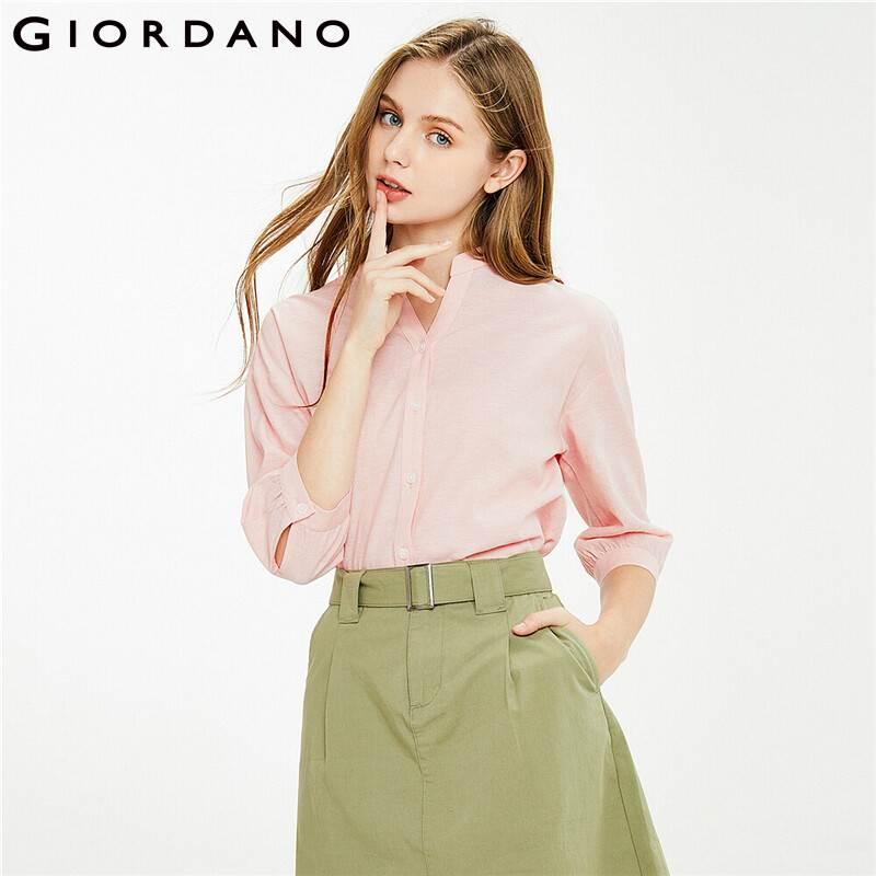 Giordano Women Shirts Linen Cotton V Neck Drop Shoulder Blouse Three Quarter Sleeve Button Front Soild Blusa Feminina 13341027
