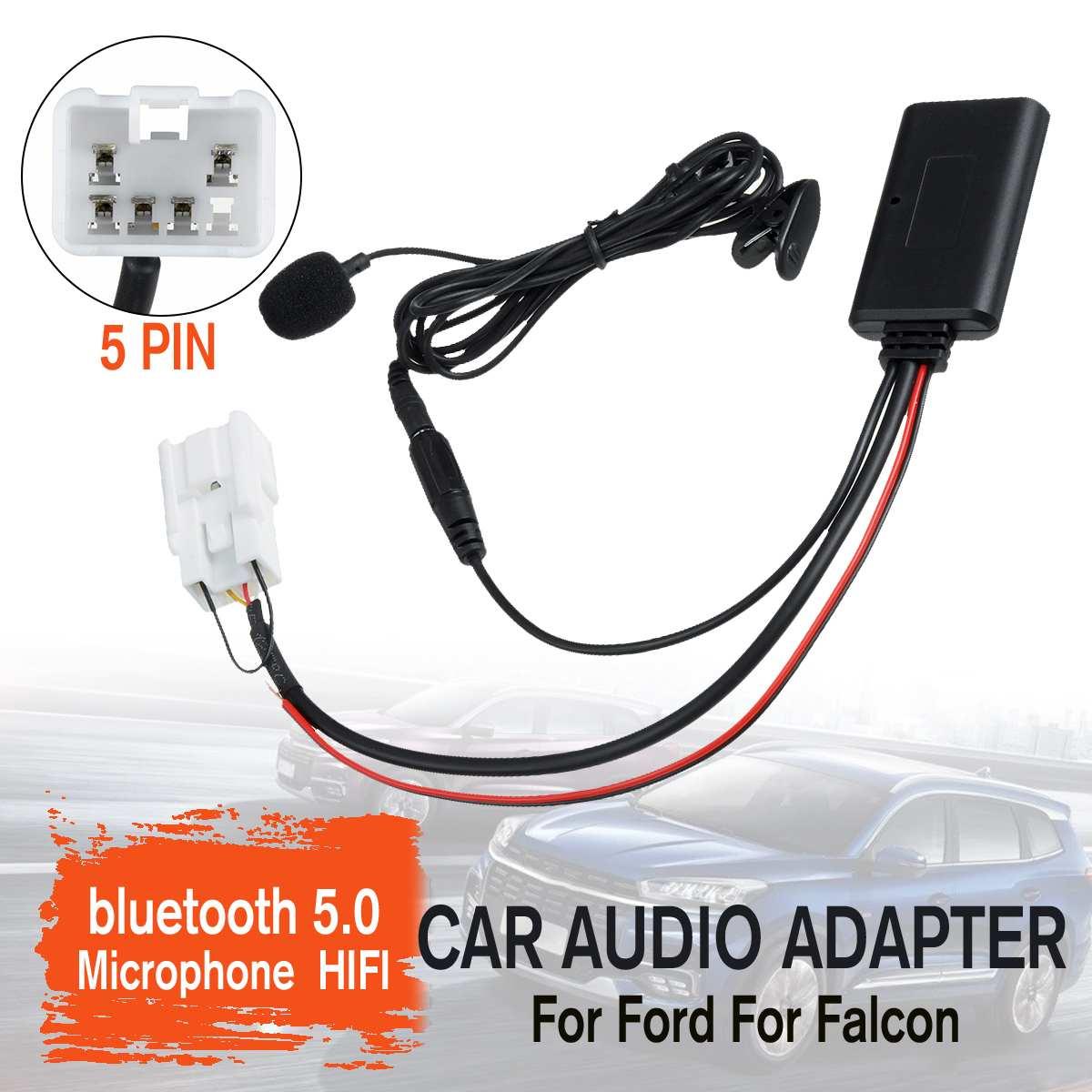 Auto HIFI Wireless 5pin Stereo Radio Aux In MP3 Kabel Musik Player Adapter MIC Für Ford Für Falcon