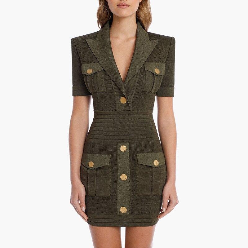 Женское трикотажное платье на пуговицах, дизайнерское модельное платье в стиле HIGH STREET с коротким рукавом и английским воротником, новинка ...