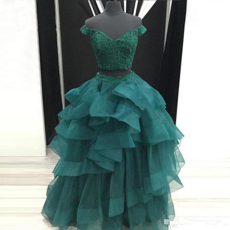 Vestidos de noite verde vestido de baile fora do ombro apliques frisado duas peças arábia saudita longo vestido de baile robe de soiree