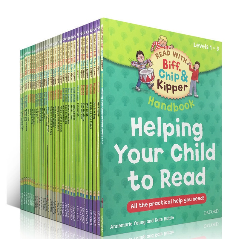 33 Books/set 1-3 level Oxford reading tree Biff,Chip&Kipper hand book Helping Child to read Phonics English story Picture Livros biff chip and kipper alphabet games stages 1 3