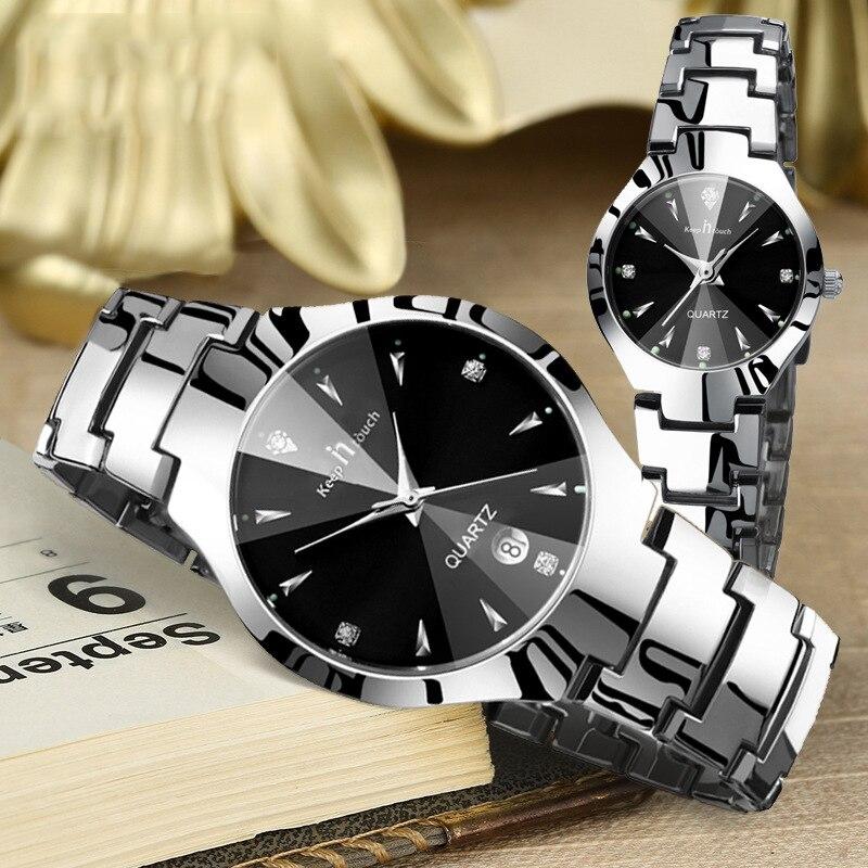 Montre Couple Montre de luxe en acier inoxydable étanche paire Montre amoureux Date Quartz Montre-bracelet pour Couples cadeaux livraison directe