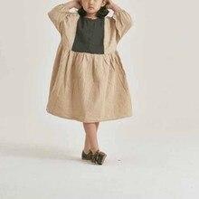 봄 2020 새로운 한국어 아기 소녀의 복고풍 패션 버블 슬리브 패치 워크 긴 소매 드레스