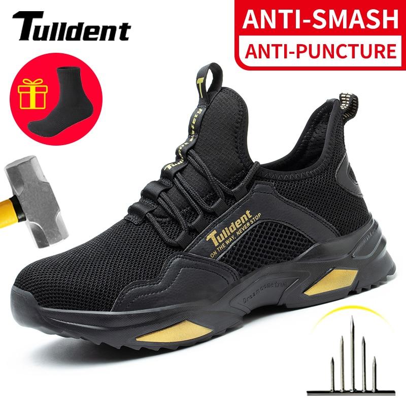 SafetyShoesMenAnti-SmashingSteelToeCapPunctureProofConstructionLightweightBreathableSneakerWorkBootsWomenQuality недорого