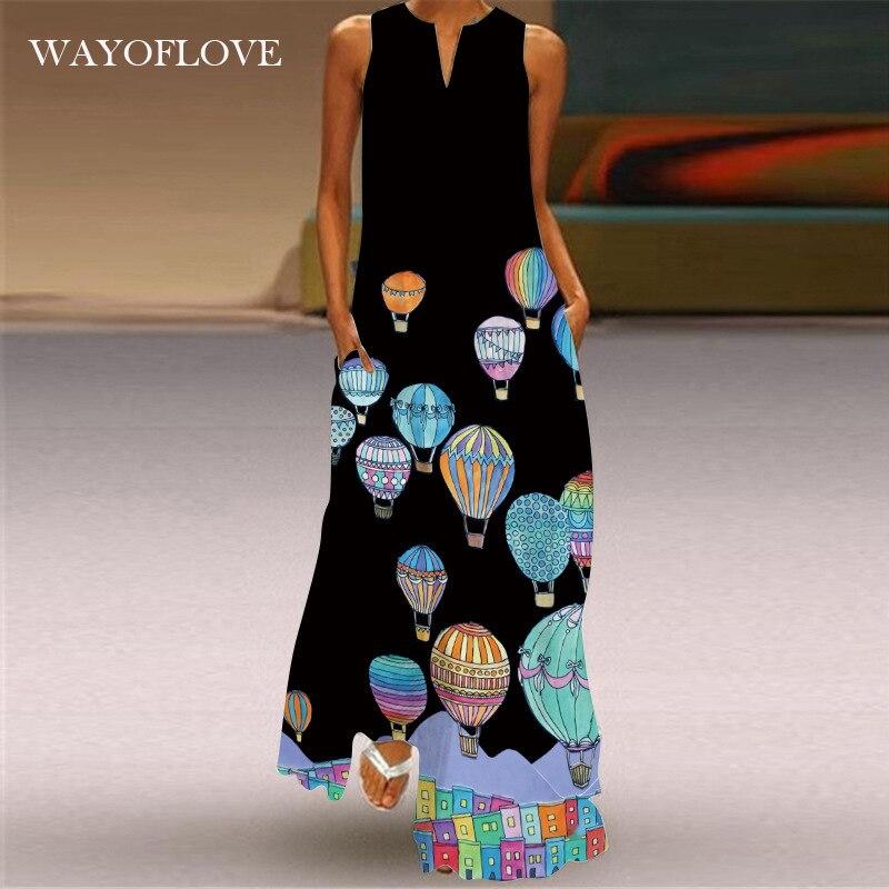WAYOFLOVE New Hot Air Balloon Print Dress 2021 Casual Plus Size Sleeveless Long Dresses Woman Girl Summer Beach Maxi Dress Women