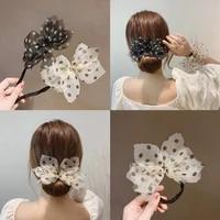 2021new woman spring yarn hair bun maker tool gilr bowknot hair stying elastic hairband hair stick french twist braider ornament