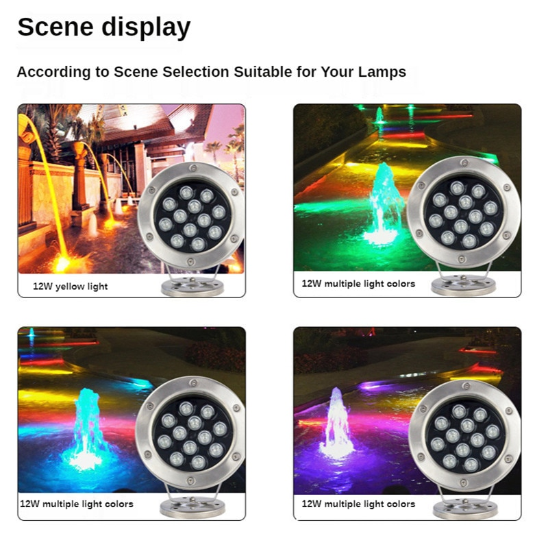 24w Colorful Spotlight Waterfall Pool Square Underwater Fountain Lights IP68 Waterproof 12v 24v Water Fountain Fish Tank Light enlarge