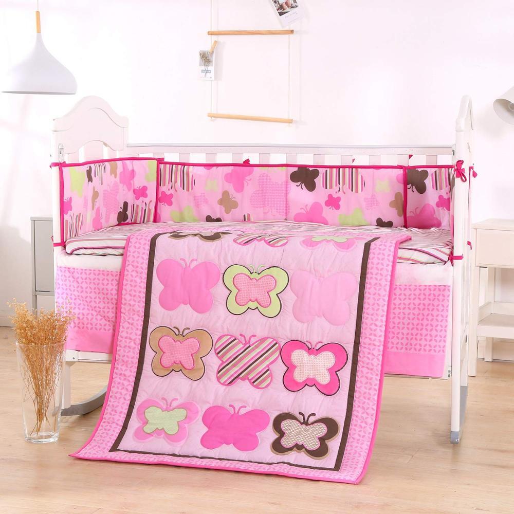 7PCS kit de berço Cotton Cot Bedding Set Good Quality Baby Bed Linen Crib Protector Infant(4bumper+duvet+bed cover+bed skirt)