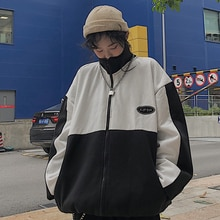 Autumn and Winter New Korean Harajuku BF Style Embroidery Stitching Loose Velvet Thickened Weird Gir