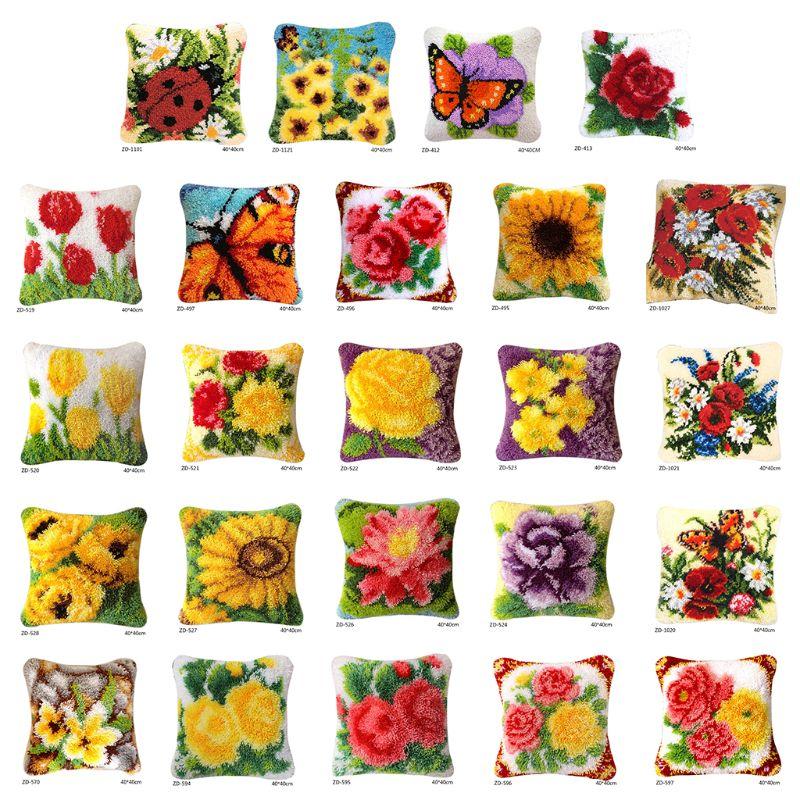 Flores DIY Kit para alfombra de aguja de lengüeta 3D segmento bordado almohada de lana Cruz puntada