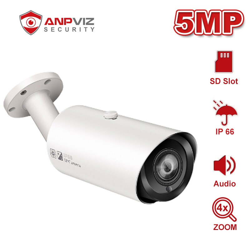 Anpviz 5MP POE Bullet IP Camera With Audio SD Card Slot Outdoor Weatherproof CCTV Security Night Vision 98ft ONVIF H.265 5mp bullet poe ip camera built in microphone sd card slot cctv security cctv camera ip66 night vision h 265 onvif p2p