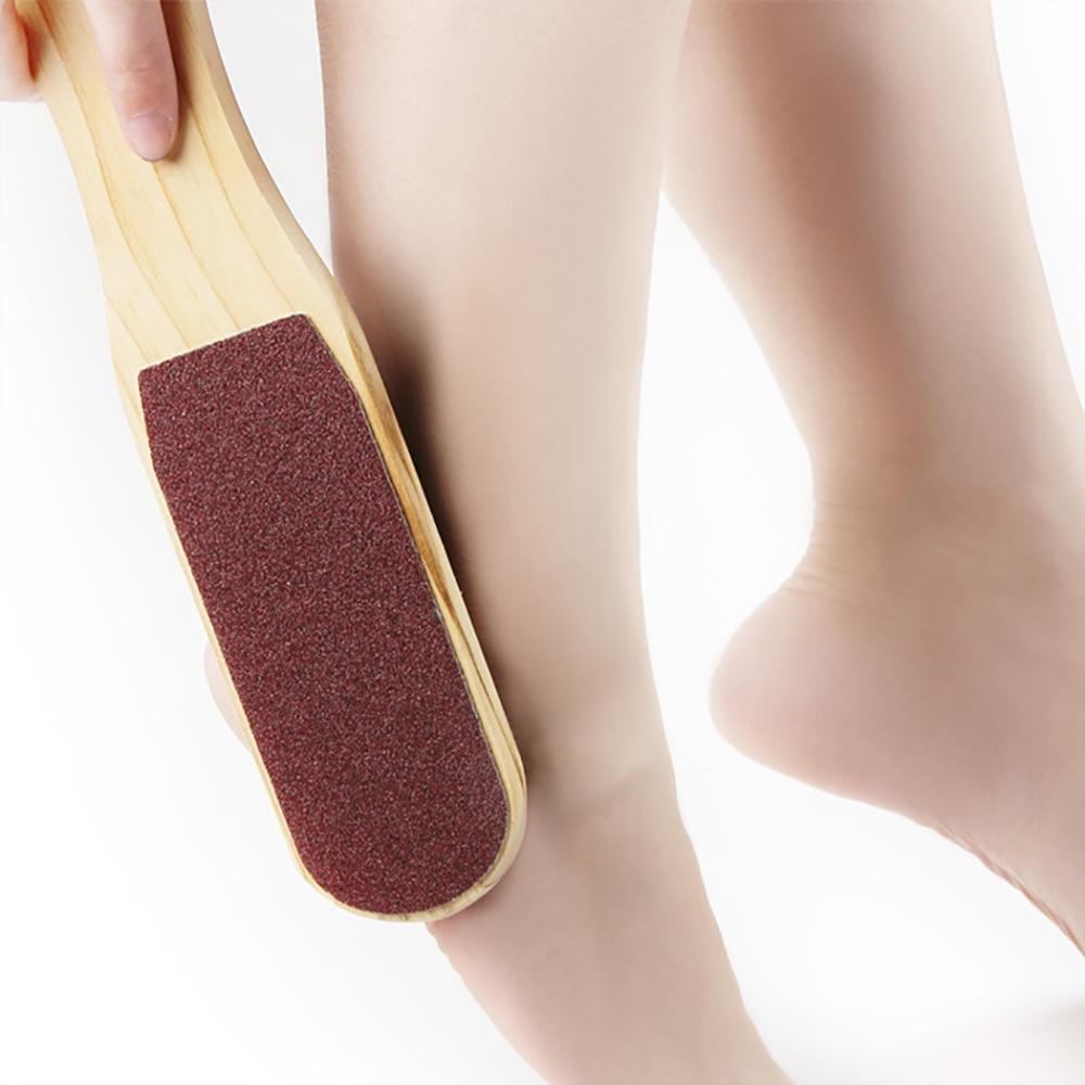 Двухсторонняя пилка для ног, инструменты для педикюра, для удаления мертвой кожи, мозолей, деревянная ручка, скребок для ног, наждачная бума...