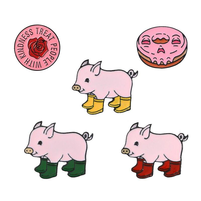 ¡Colección rosa! Harry estilos pins redonda Rosa flor Botas de lluvia cerdo esmalte suave Pin para solapa con insignia broches