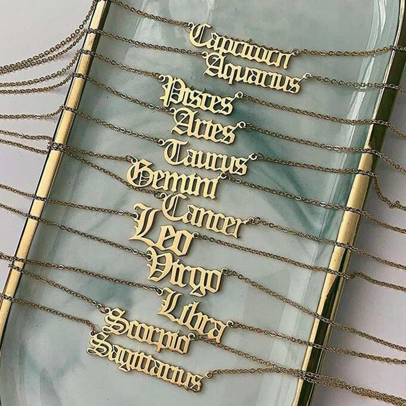 Ancien zodiaque anglais pendentif collier femmes Vintage 12 Constellations bélier Cancer vierge breloque chaîne en or colliers bijoux personnalisés