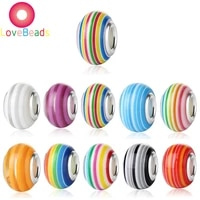 10pcs rainbow stripe color resin large hole spacer beads fit european style women pandora bracelet chain jewelry making supplies